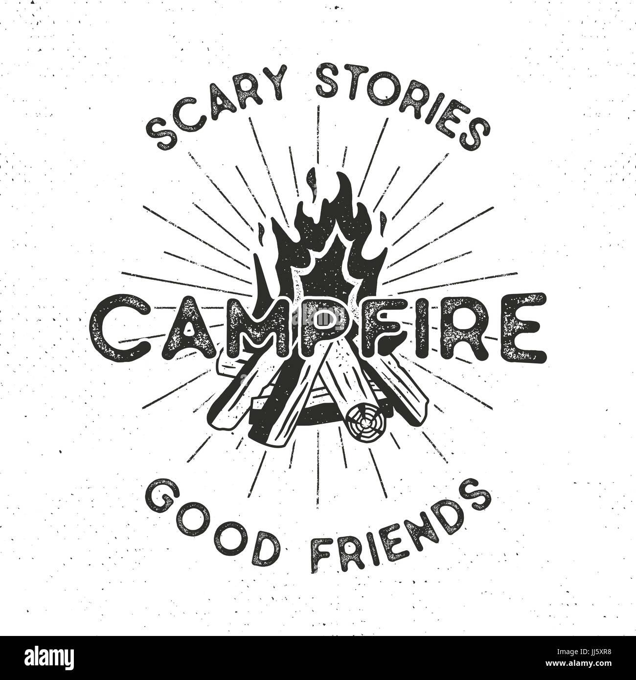 19edb3490755 Camping t-shirt design. Disegnato a mano etichetta vintage con testi
