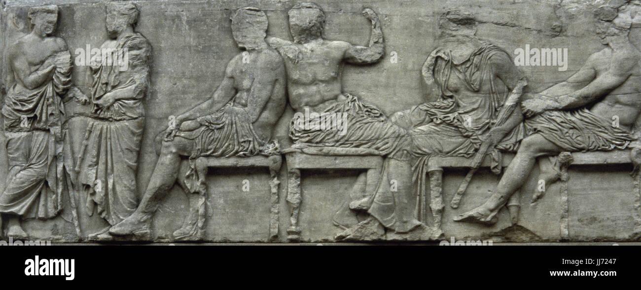 Il fregio del Partenone. Il lato est. 447-432 A.C. Età greca classica. La sezione centrale del fregio est. Immagini Stock
