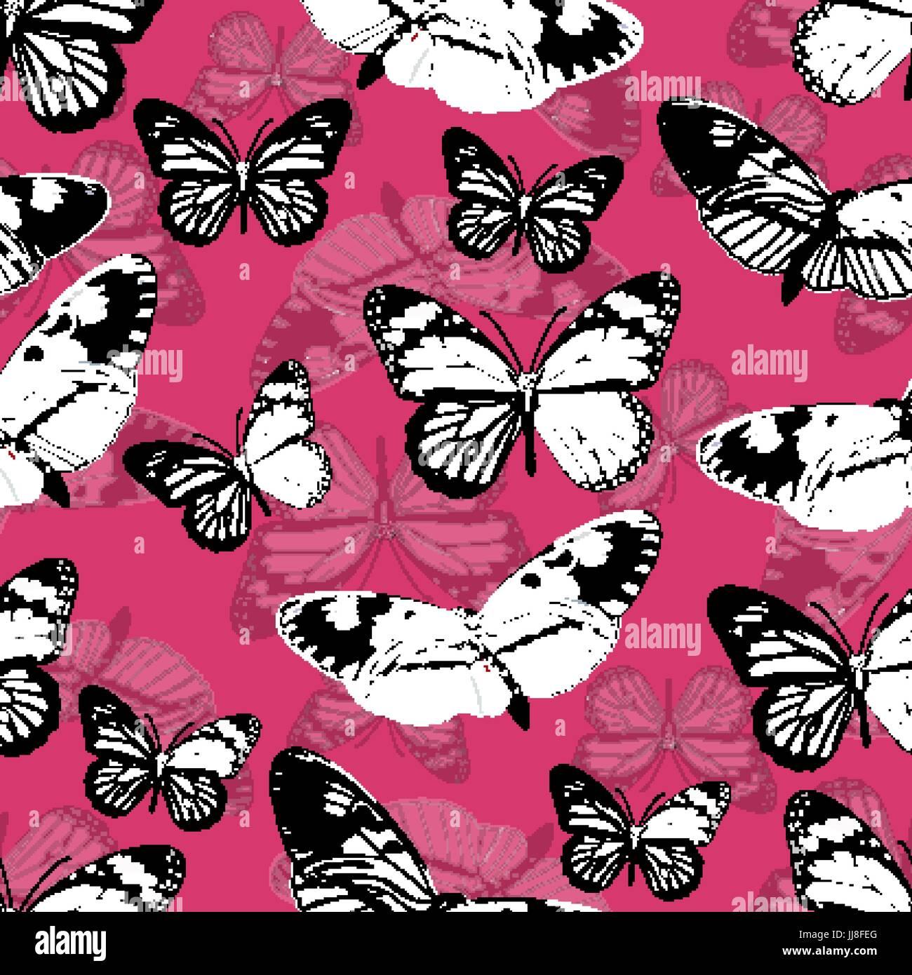 Farfalle Seamless Pattern Monocromatico Sfondo Vettoriale In