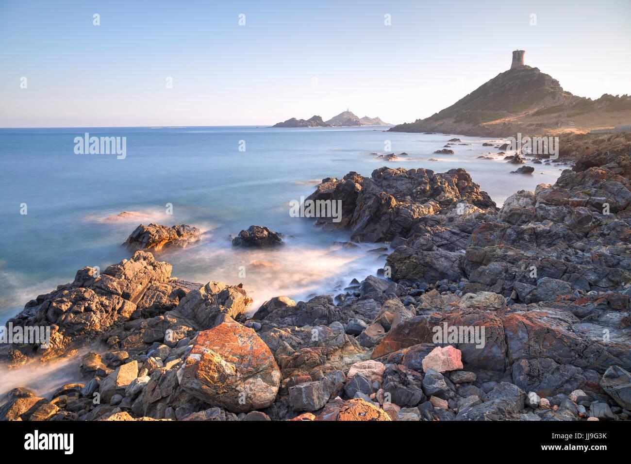 Pointe de la Parata, Iles Sanguinaires, Ajaccio, Corsica, Francia Immagini Stock