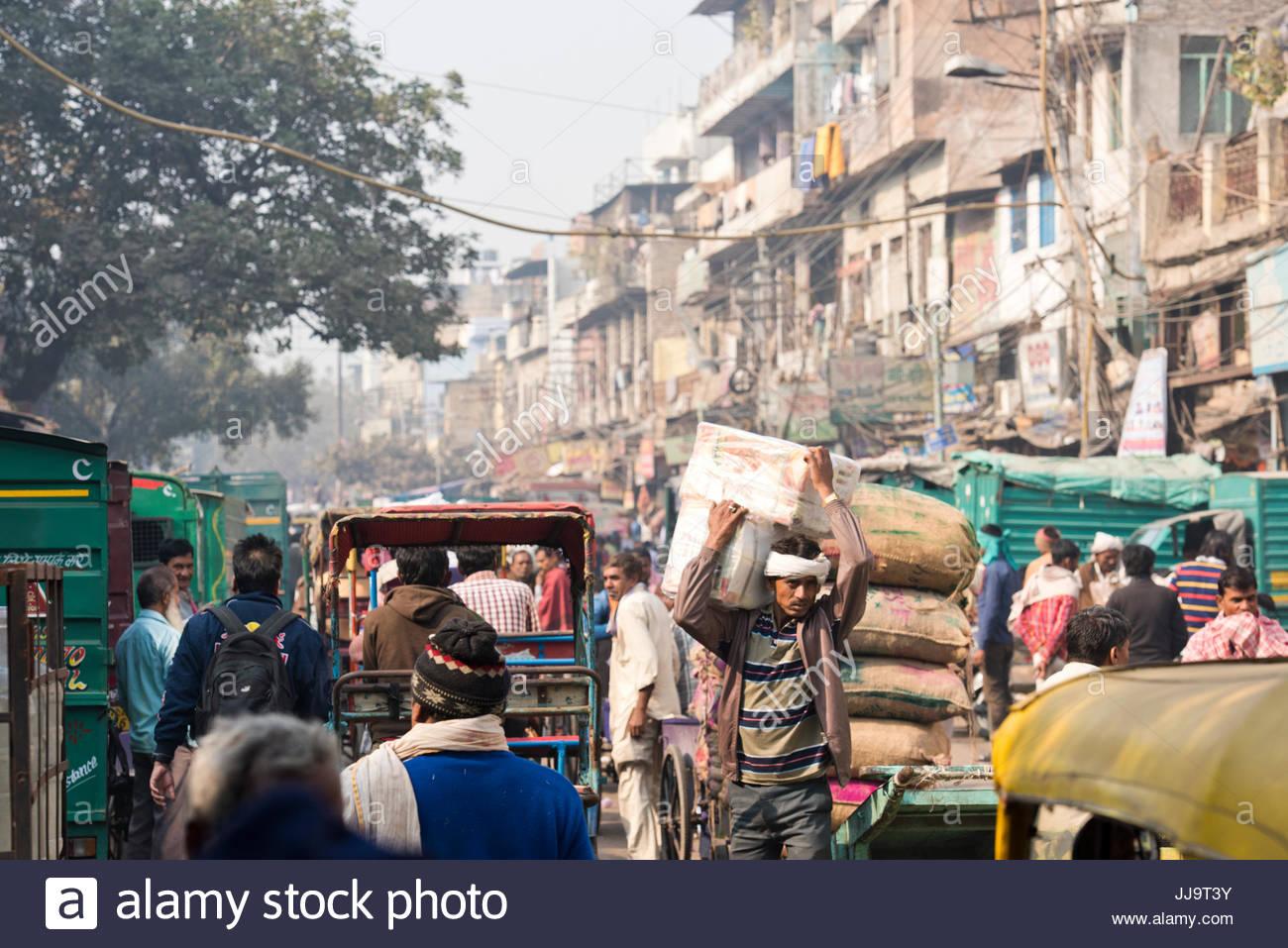 Una scena di strada di New Delhi, India. Immagini Stock
