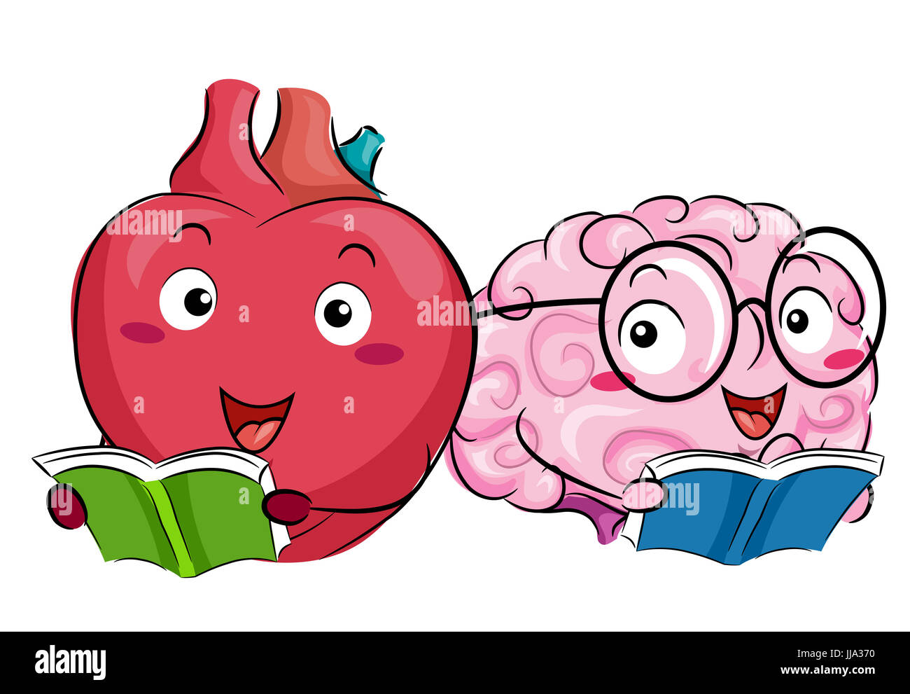 Il Mascot Illustrazione Di Un Cuore Felice E Un Cervello La