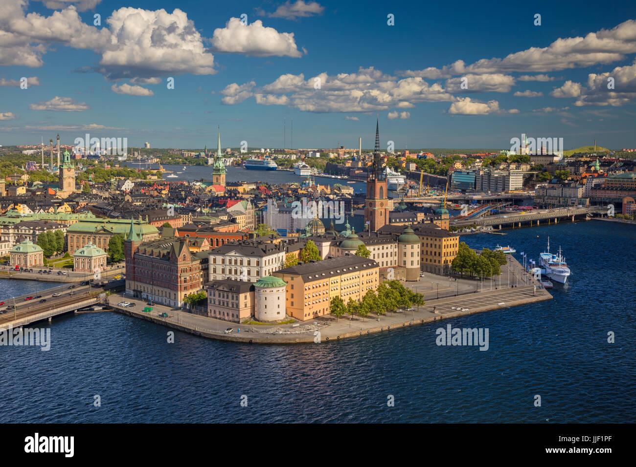Stoccolma. Immagine aerea della città vecchia di Stoccolma, Svezia durante durante la giornata di sole. Immagini Stock