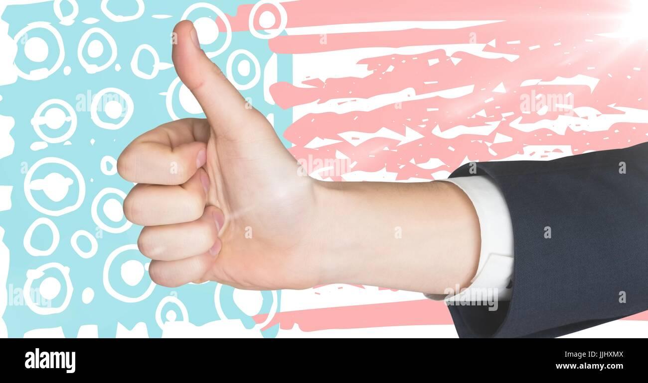 Mano dando pollice in su contro disegnati a mano bandiera americana Immagini Stock