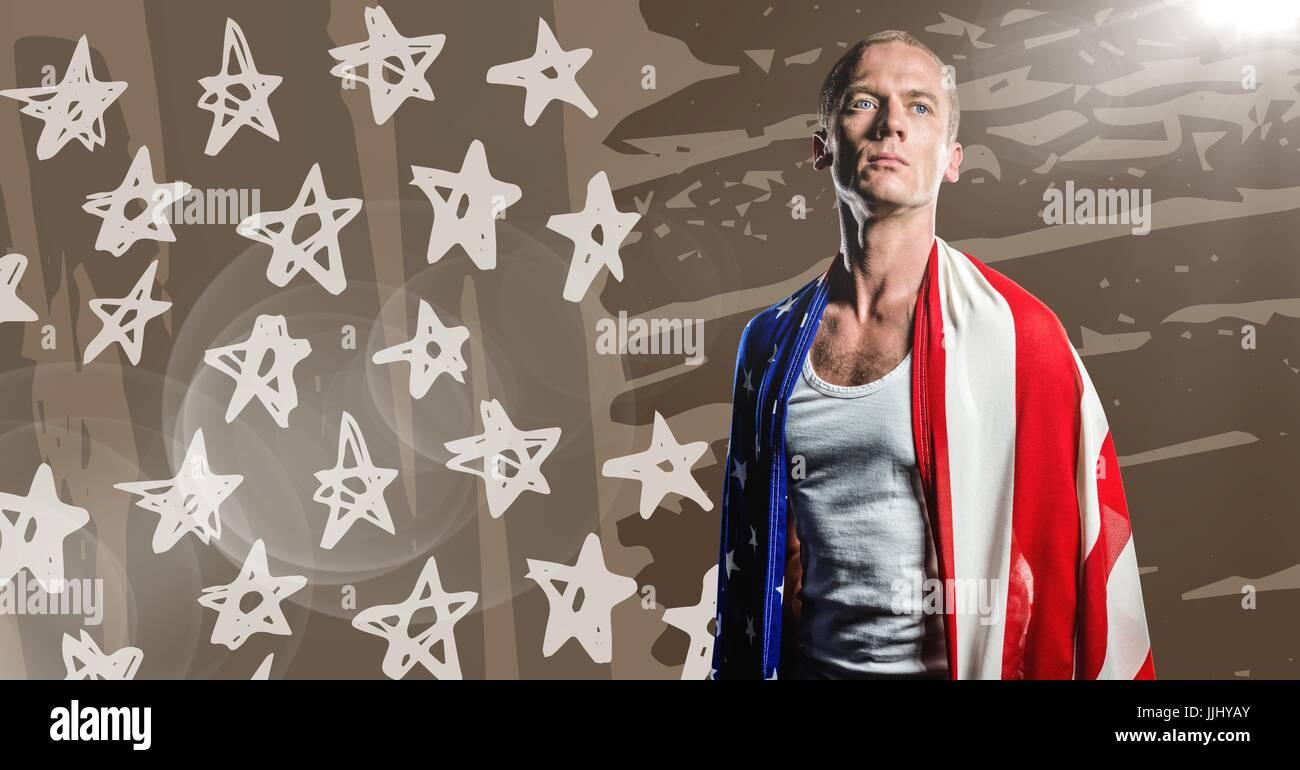 L'uomo avvolto nella Bandiera americana guardando verso il basso contro la brown disegnati a mano bandiera americana Immagini Stock