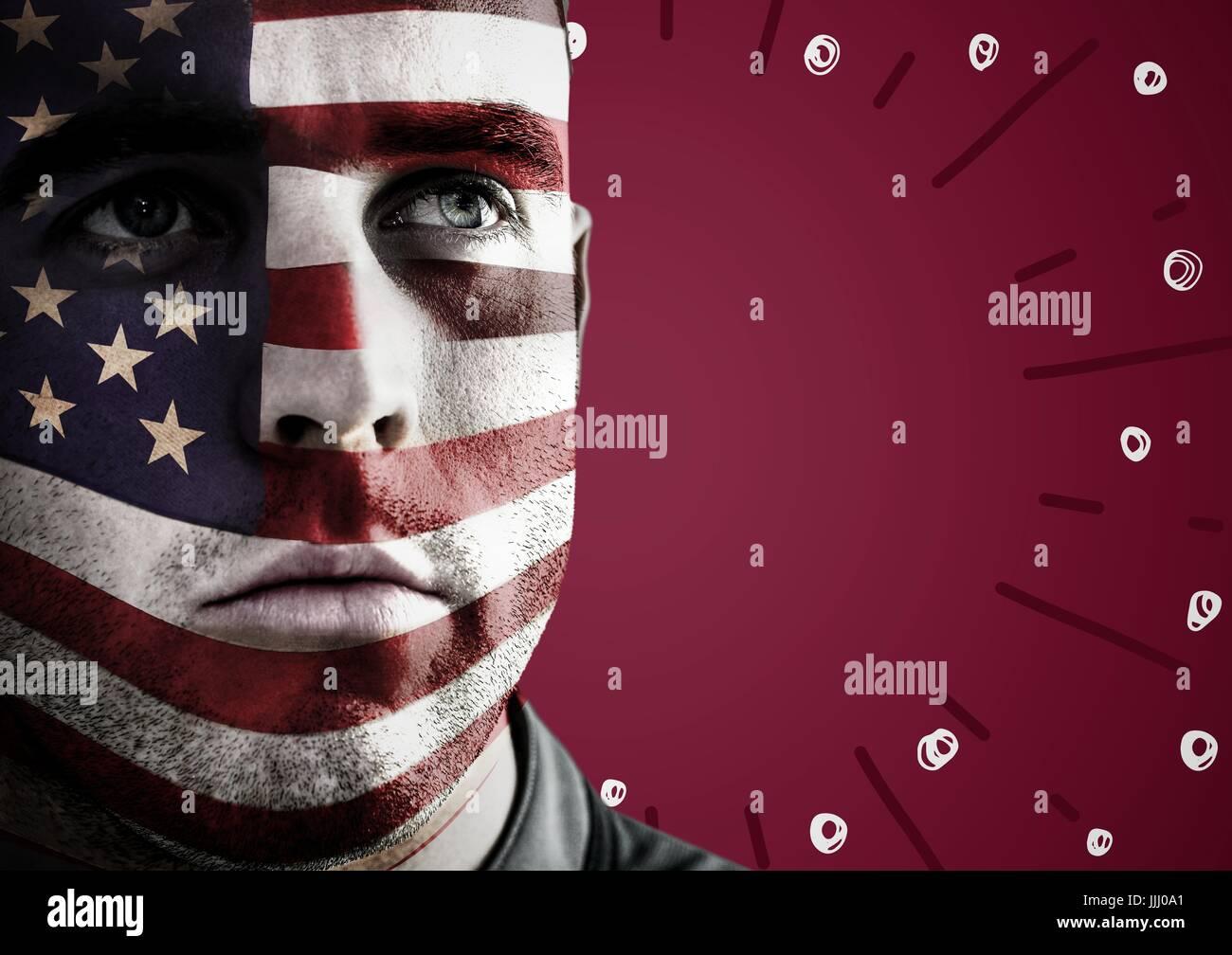 La ritrattistica di uomo con bandiera americana faccia vernice contro sfondo marrone rossiccio con fuochi d'artificio Immagini Stock