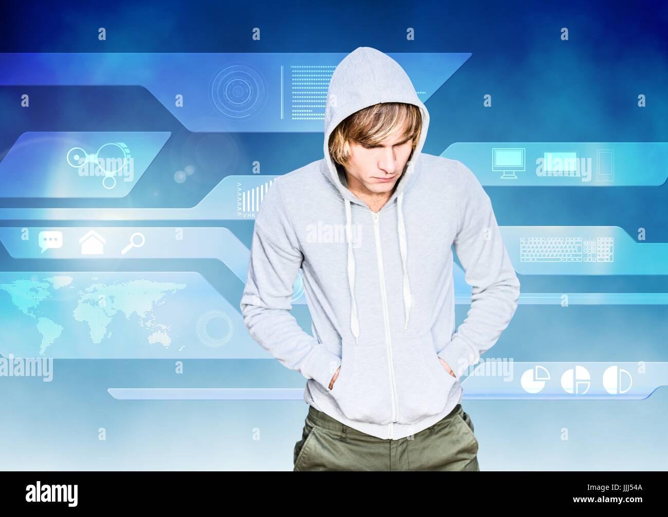 Il pirata informatico con una felpa grigia di fronte blu sfondo digitale Immagini Stock