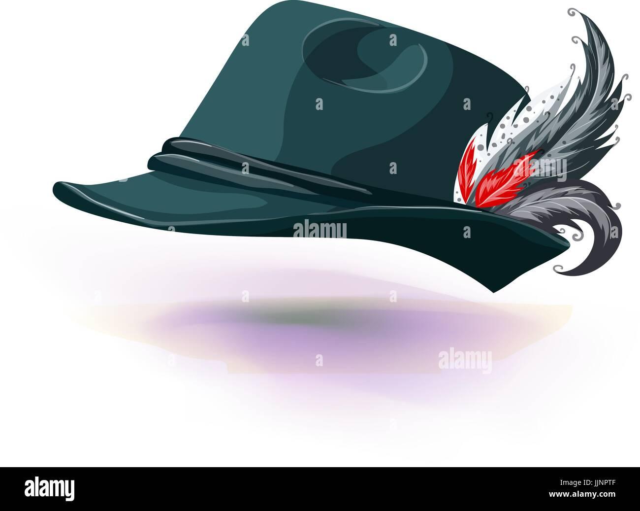 Cappello con piume bianche bastoni fuori. nazionali in tedesco hat isolati  su sfondo bianco. 27dcc22e0819