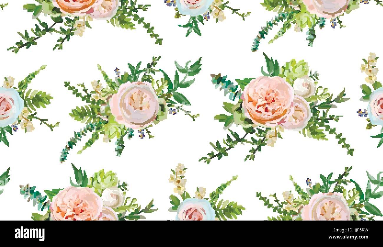 Mazzo Di Fiori Vector.Vector Seamless Pattern Mazzi Di Fiori Di Rosa Bianco Giardino