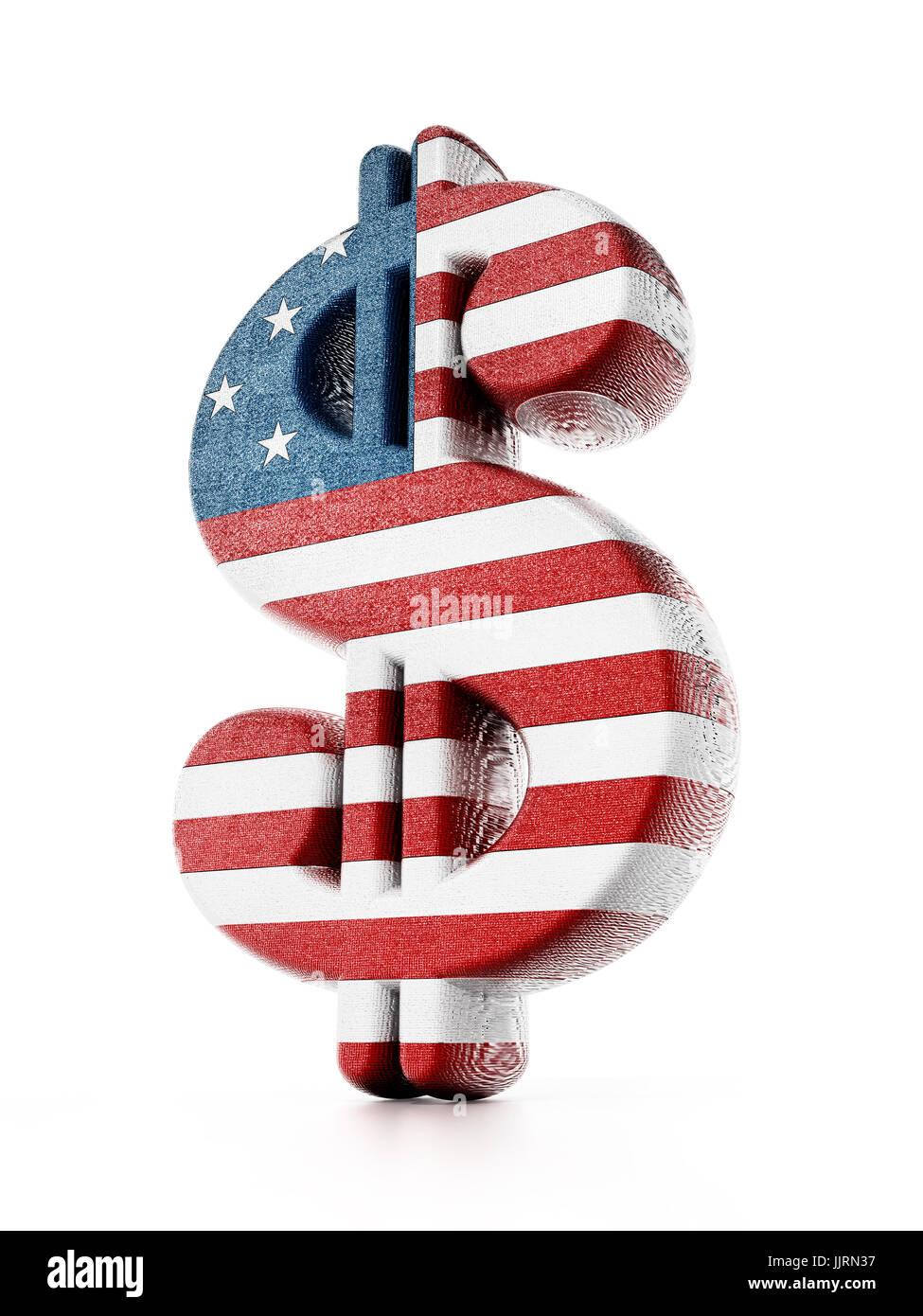 Il simbolo del dollaro mappato con bandiera americana texture. 3D'illustrazione. Immagini Stock