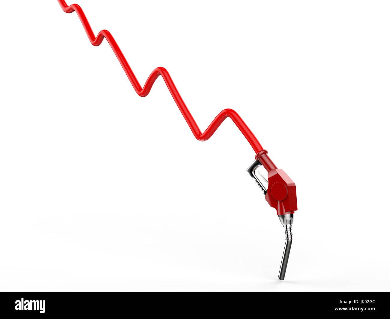 Il prezzo del petrolio che la caduta di concetto con 3D rendering grafico rosso e rosso ugello Immagini Stock