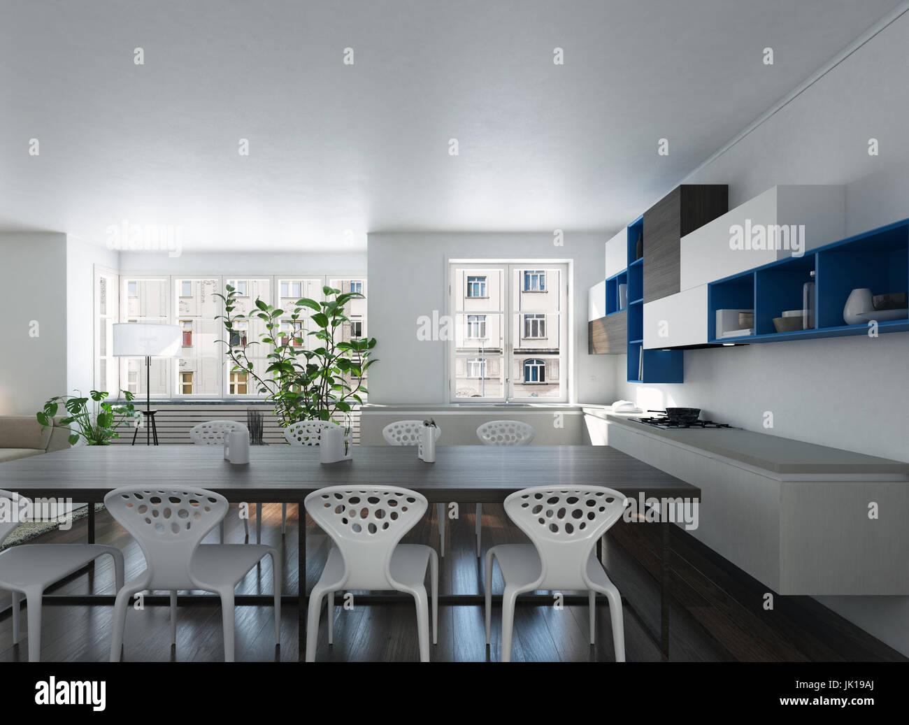 3D render di una moderna e spaziosa cucina a pianta aperta ...