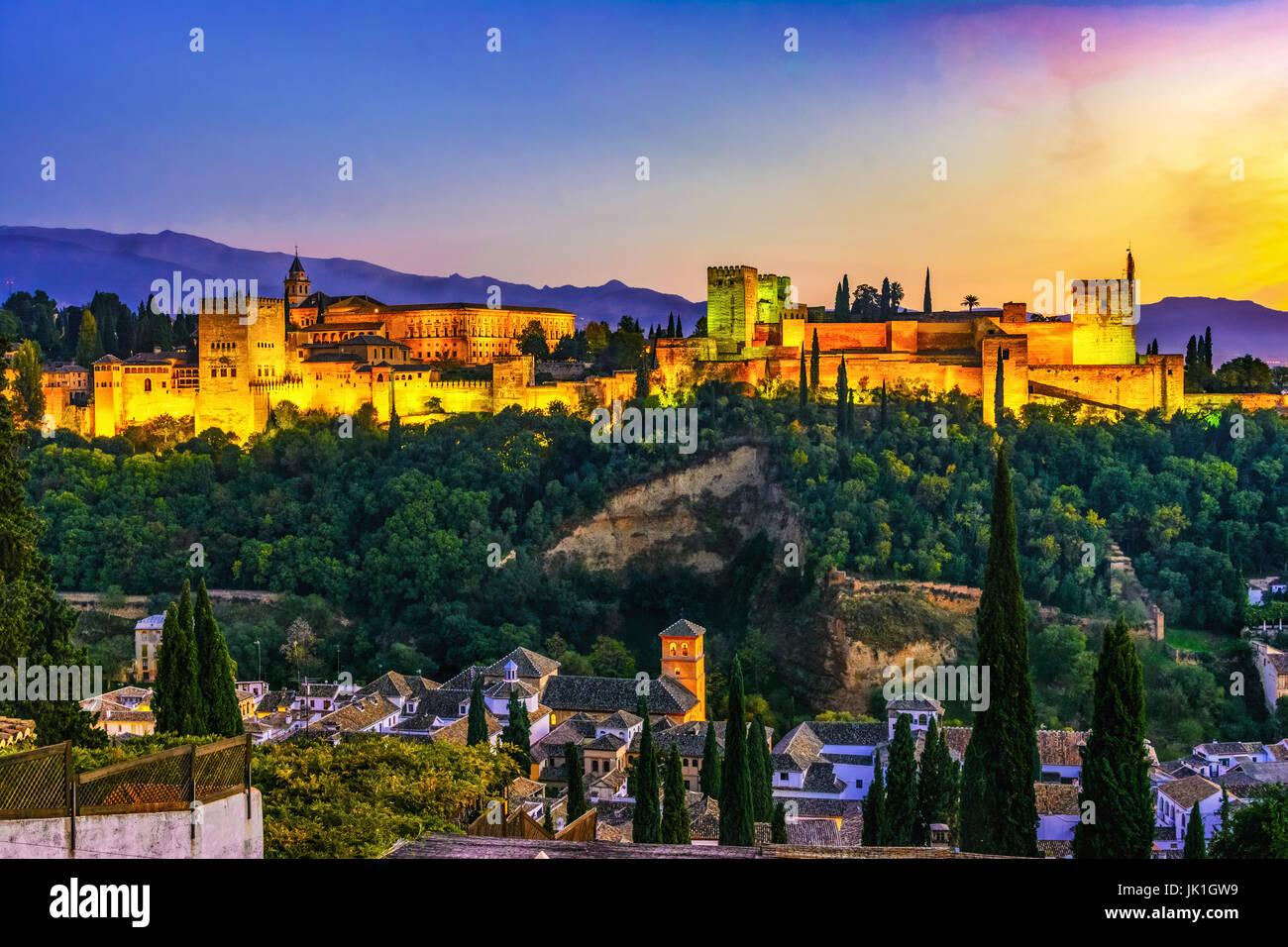 Alhambra di Granada, Spagna Foto Stock