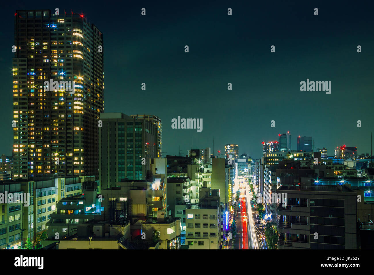 Tokyo, Gotanda di notte Immagini Stock