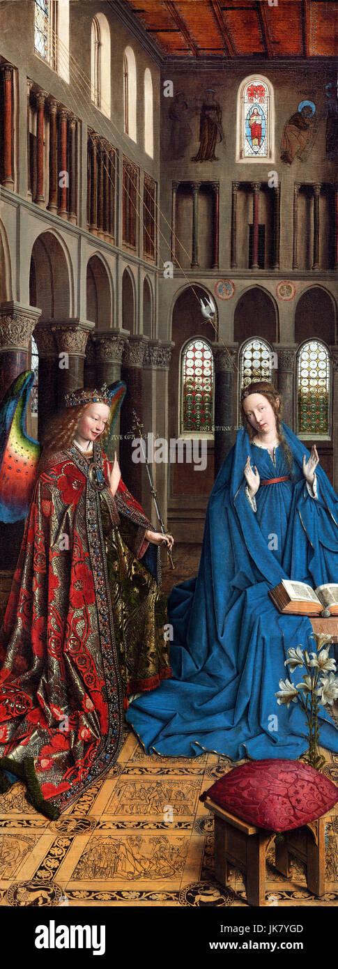 Jan van Eyck, l'Annunciazione. Circa 1434-1436. Olio su pannello. National Gallery of Art di Washington D.C., Immagini Stock