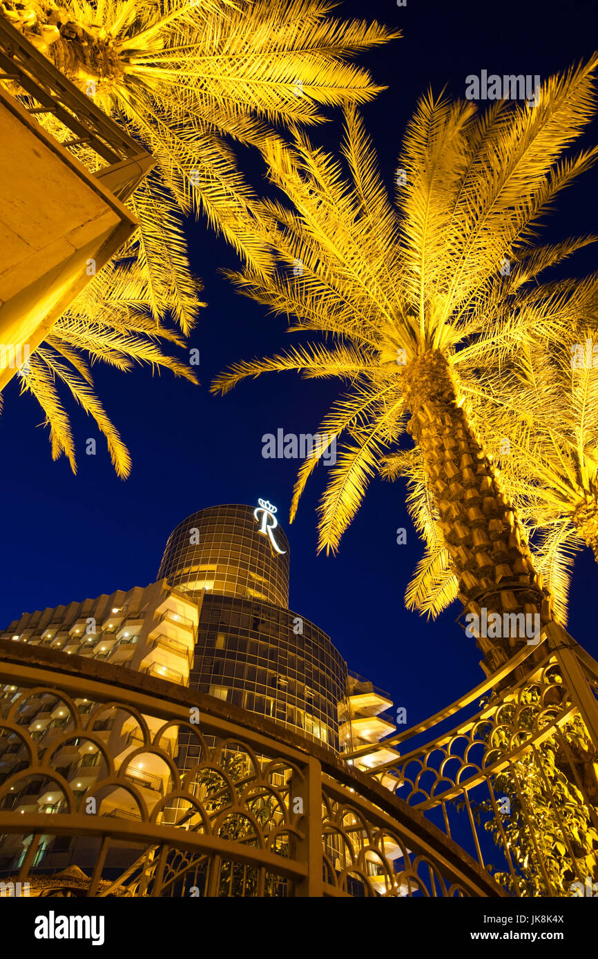 Israele Mar Morto, Ein Bokek Royal Rimonim Dead Sea Hotel, sera Immagini Stock