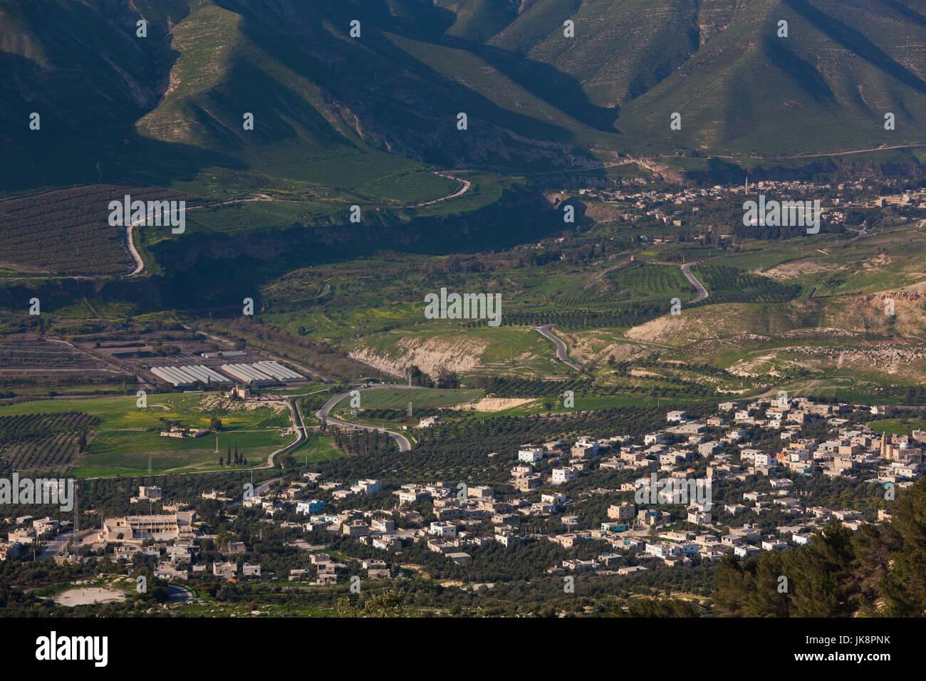 Giordania, Umm Qais-Gadara, vista verso le alture del Golan e il lago di Galilea Immagini Stock