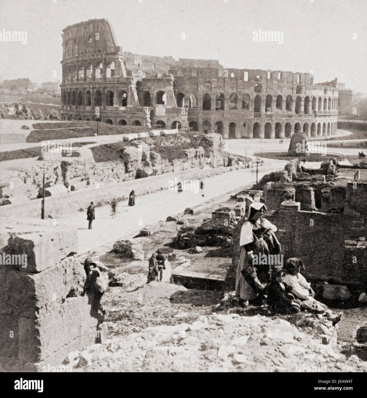 Il Colosseo, Roma, Italia nel 1900 Immagini Stock