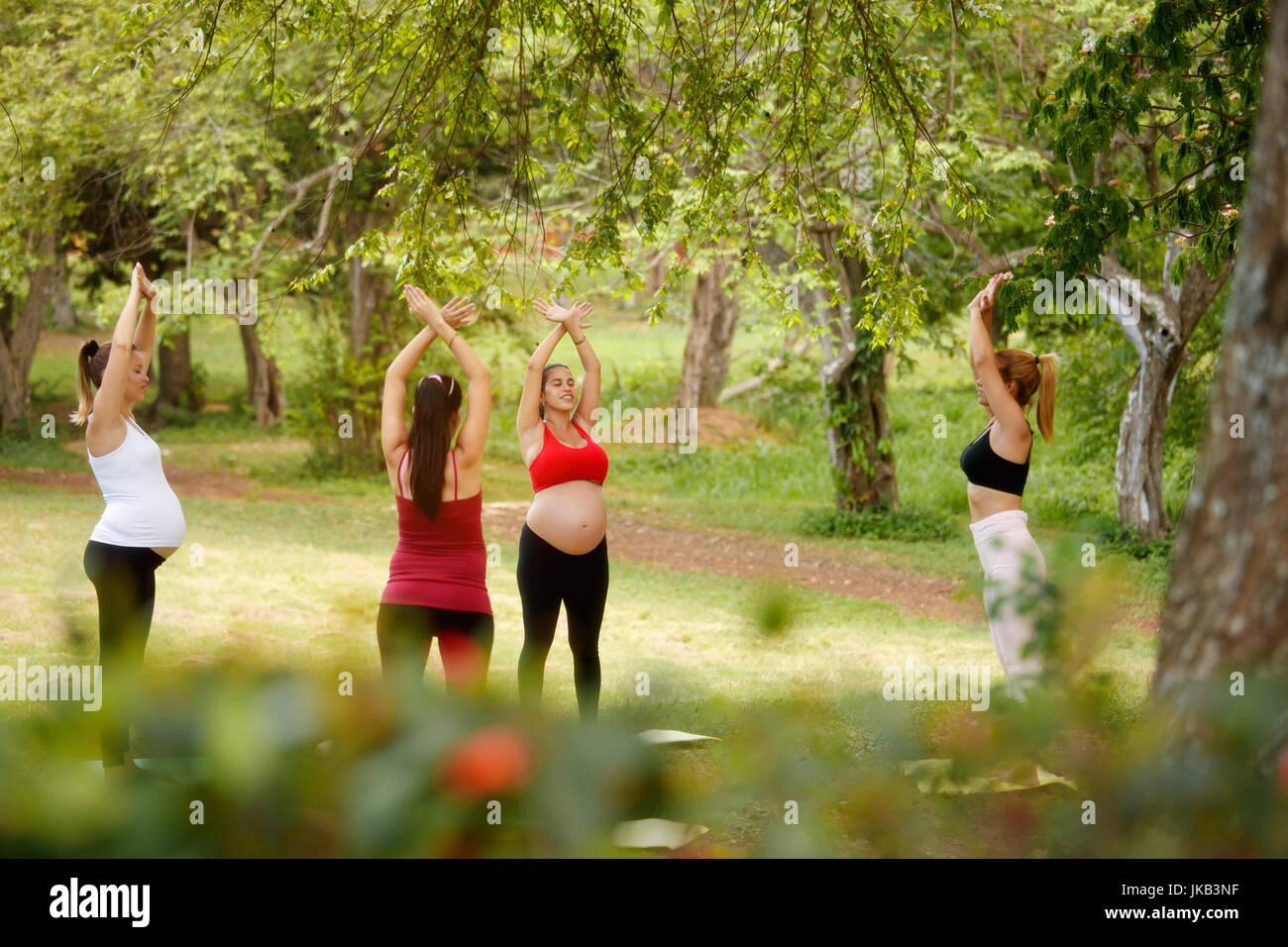 Le donne in stato di gravidanza, gruppo di mamme di formazione con pulmann facendo esercizi di fitness e yoga durante Immagini Stock