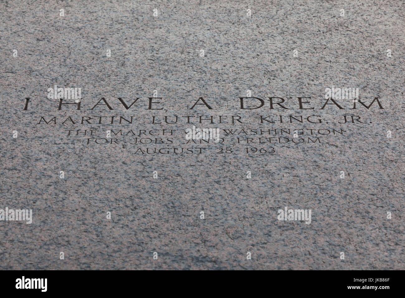 Stati Uniti d'America, Washington DC, il Lincoln Memorial, il marcatore sulla scalinata del memoriale dove Martin Immagini Stock
