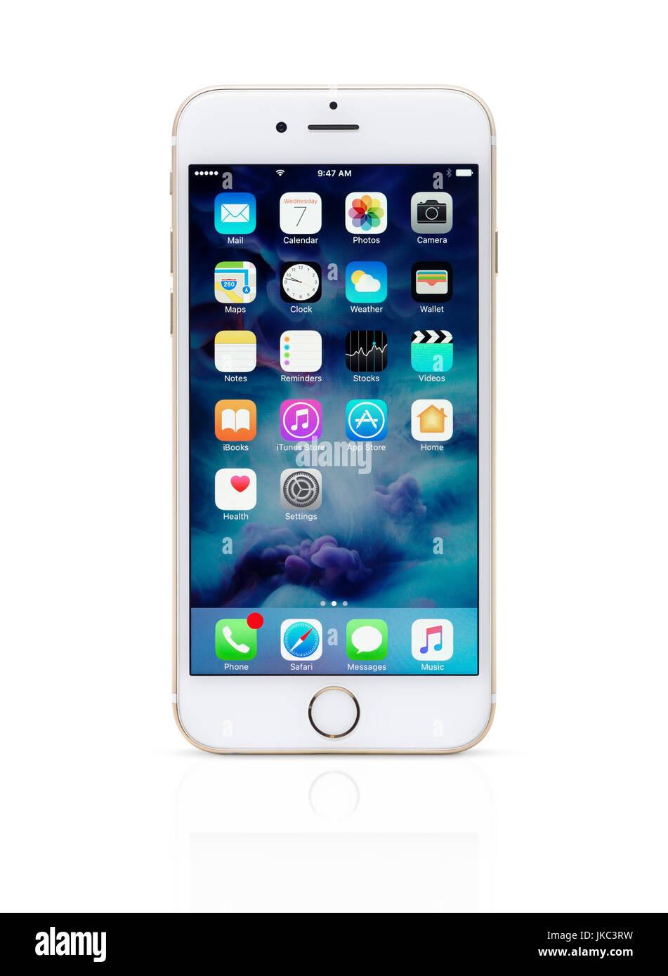 Oro Bianco Apple Iphone 6 6s Con Le Icone Del Desktop Sul Suo
