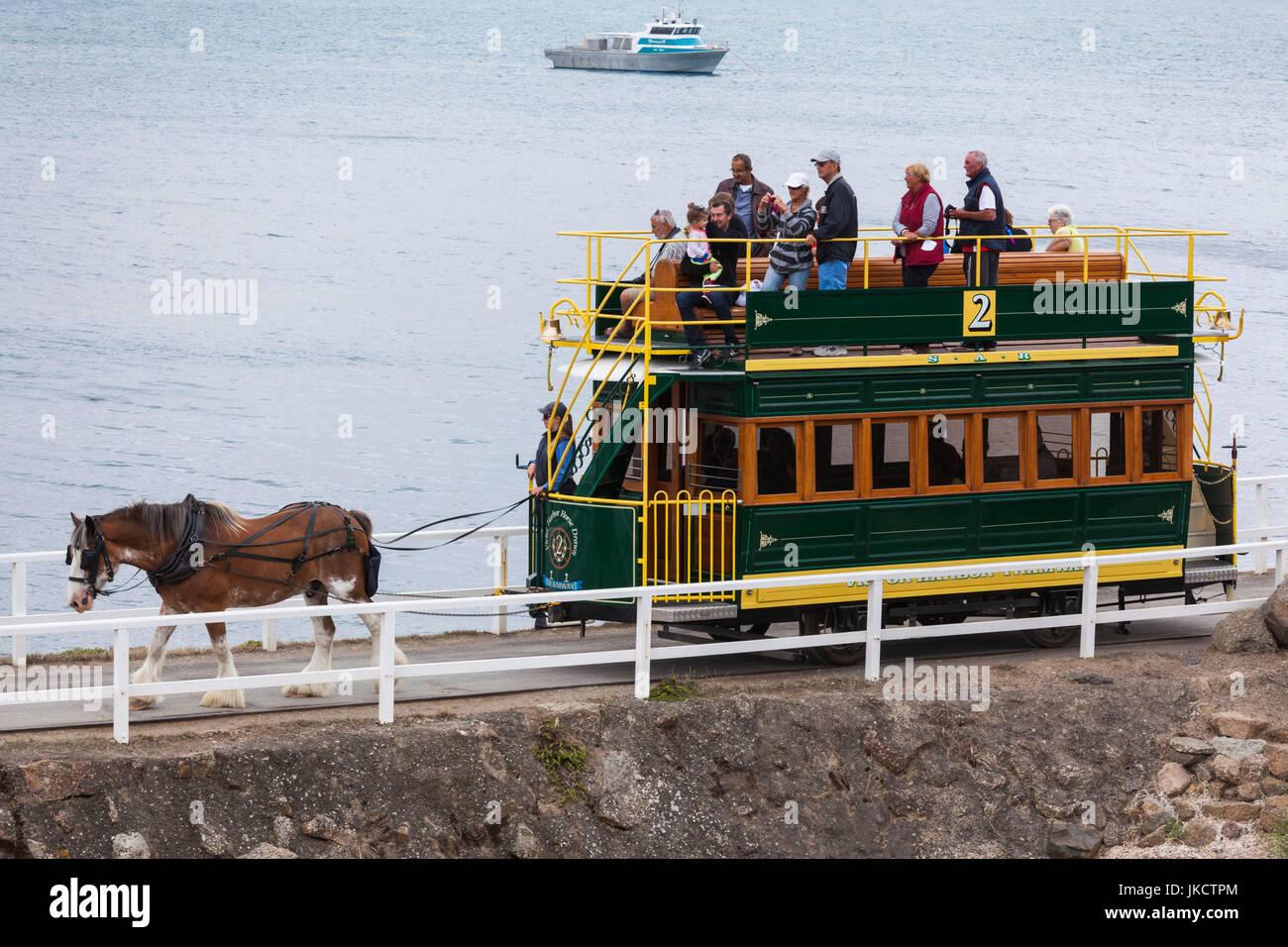In Australia, in Sud Australia, Fleurieu Peninsula, Victor Harbor, tram a cavalli per Granite Island Immagini Stock