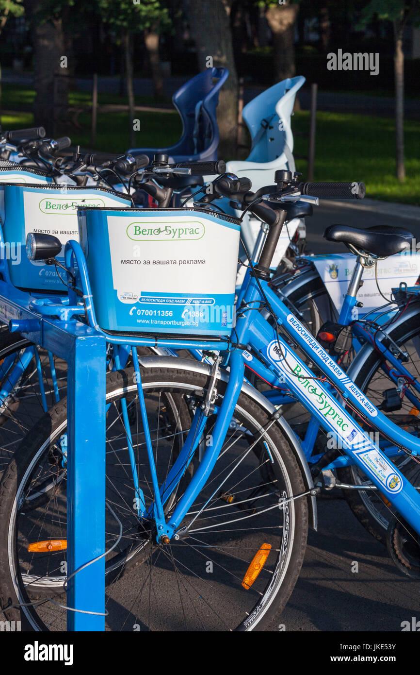 La Bulgaria, la costa del Mar Nero, Burgas, Velo-Burgas, noleggio biciclette Immagini Stock