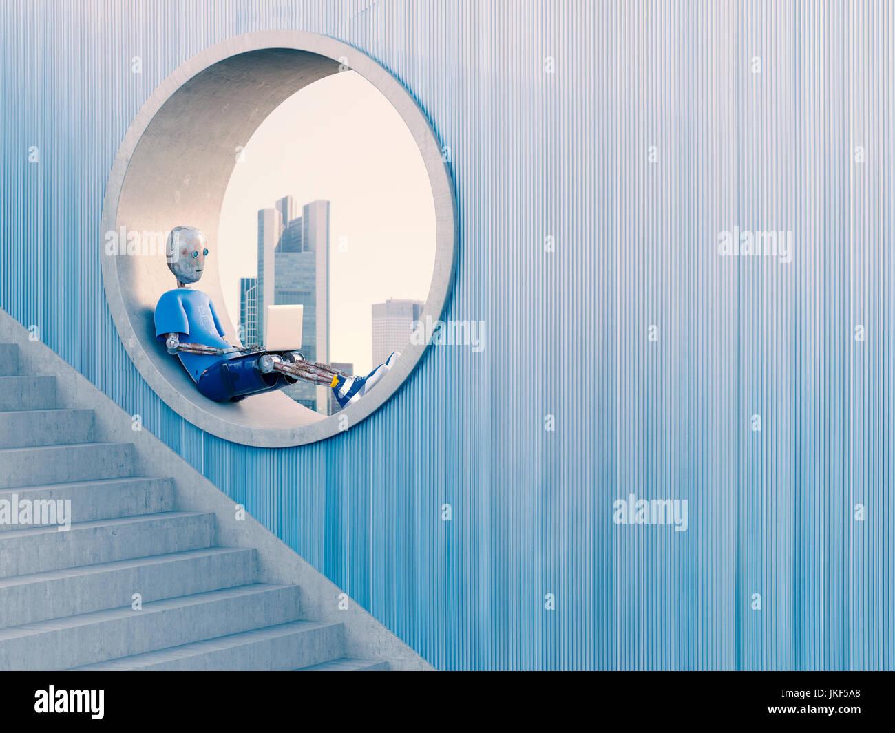 Il robot seduto nella finestra rotonda utilizzando laptop, rendering 3D Immagini Stock