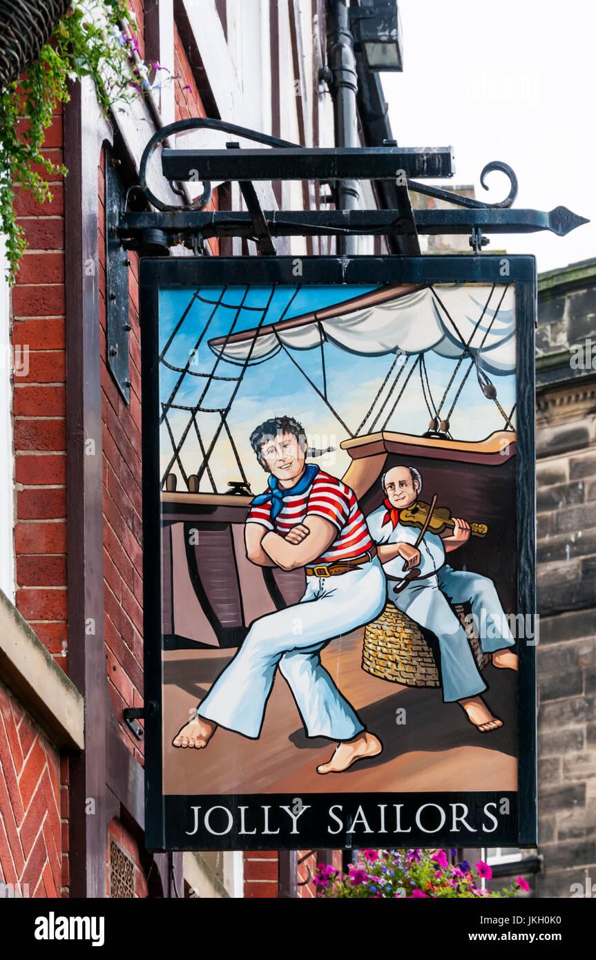 Segno per il Jolly marinai pub a Whitby. Immagini Stock