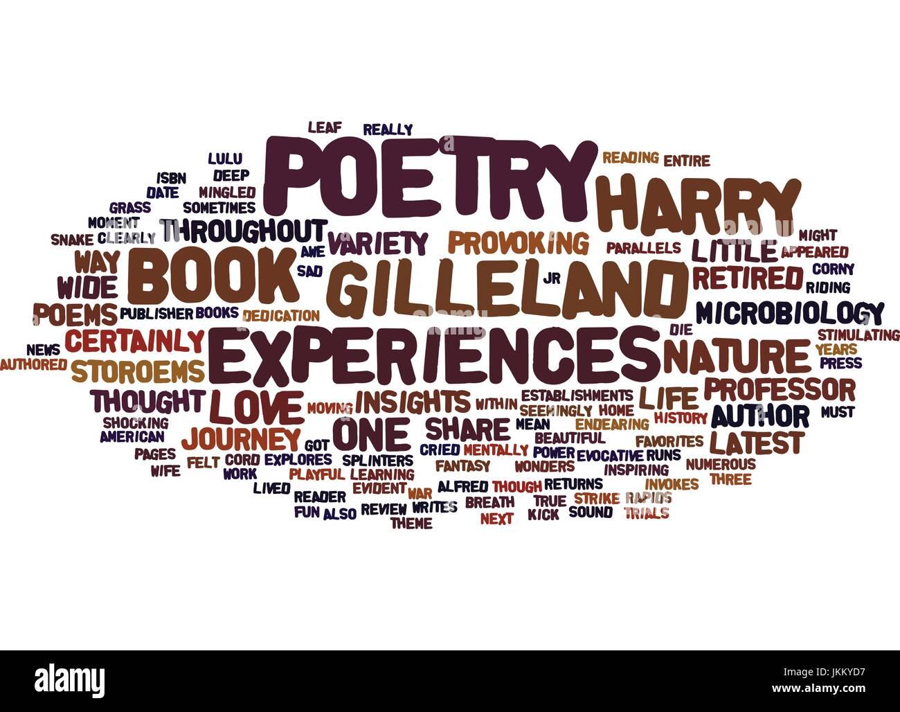 Poesia GILLELAND STOROEMS E POESIE rivedere lo sfondo del testo parola concetto di cloud Illustrazione Vettoriale