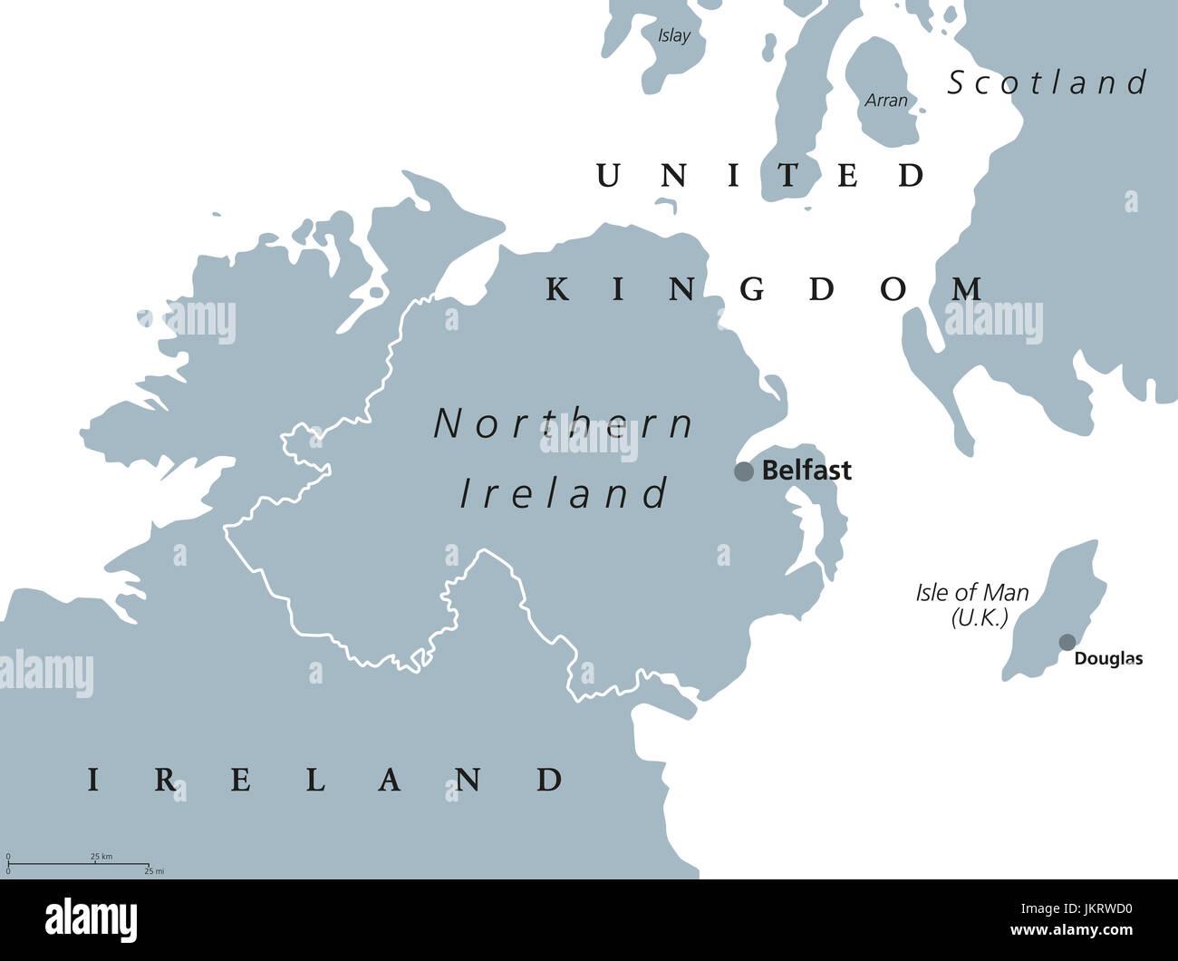 Irlanda Del Nord Cartina.Irlanda Del Nord Mappa Politico Con Capitale Belfast Paese Del Regno Unito Nel Nord Est Dell Isola D Irlanda Illustrazione Di Grigio Foto Stock Alamy