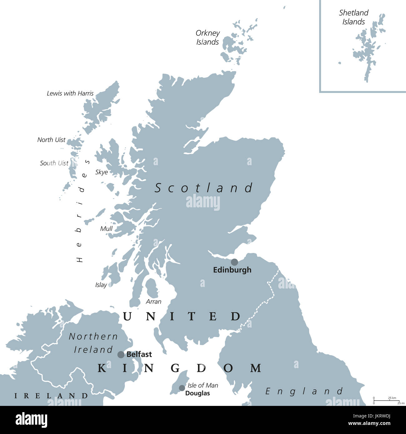 Gran Bretagna Cartina Geografica Politica.Scozia Mappa Politico Con Capitale Edimburgo Paese E Parte Del Regno Unito Copre Il Terzo Settentrionale Dell Isola Di Gran Bretagna Foto Stock Alamy