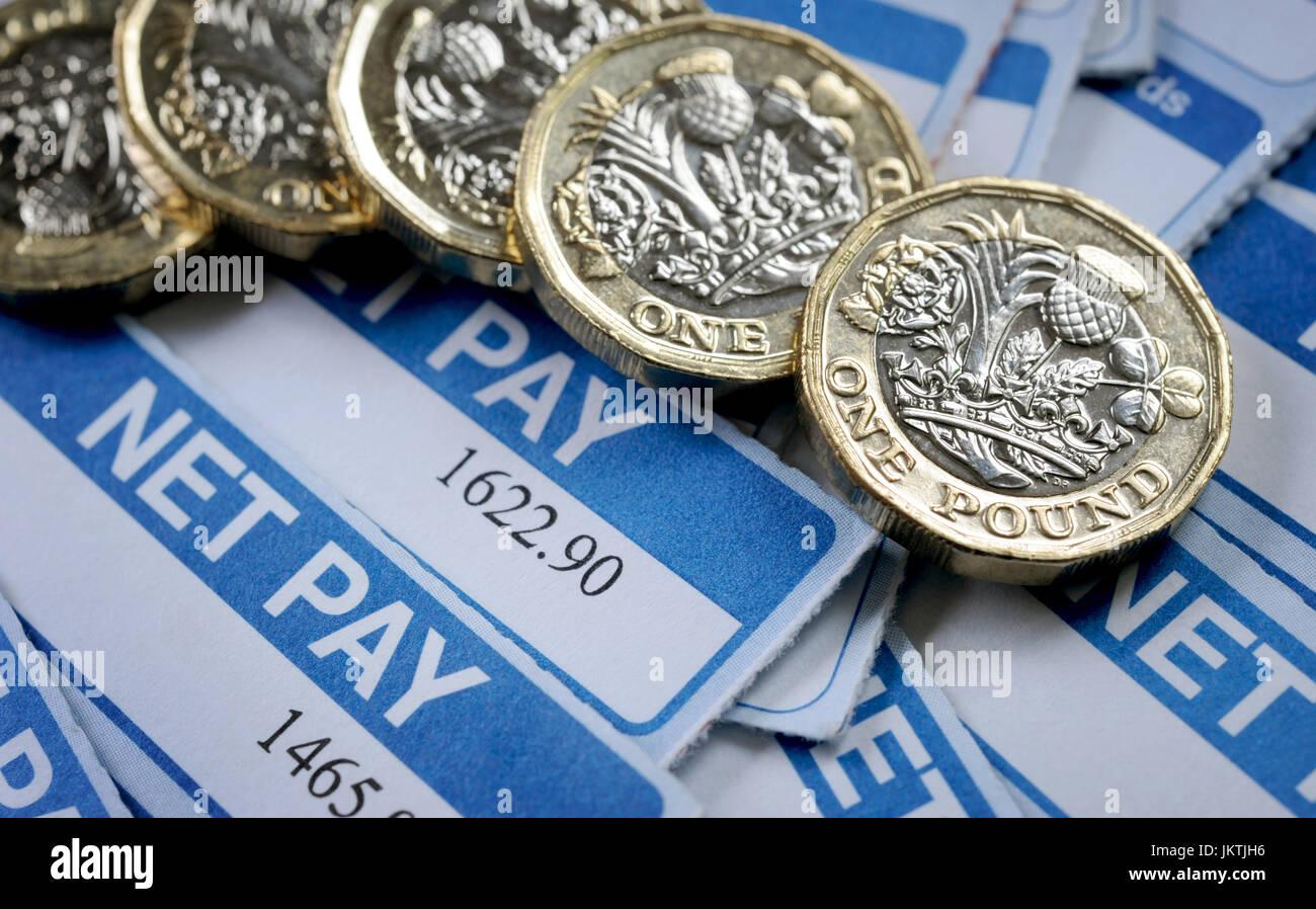 Fogli paga con una libbra di monete RE I salari dei redditi salariali pensioni inflazione LA PIANIFICAZIONE FINANZIARIA Immagini Stock