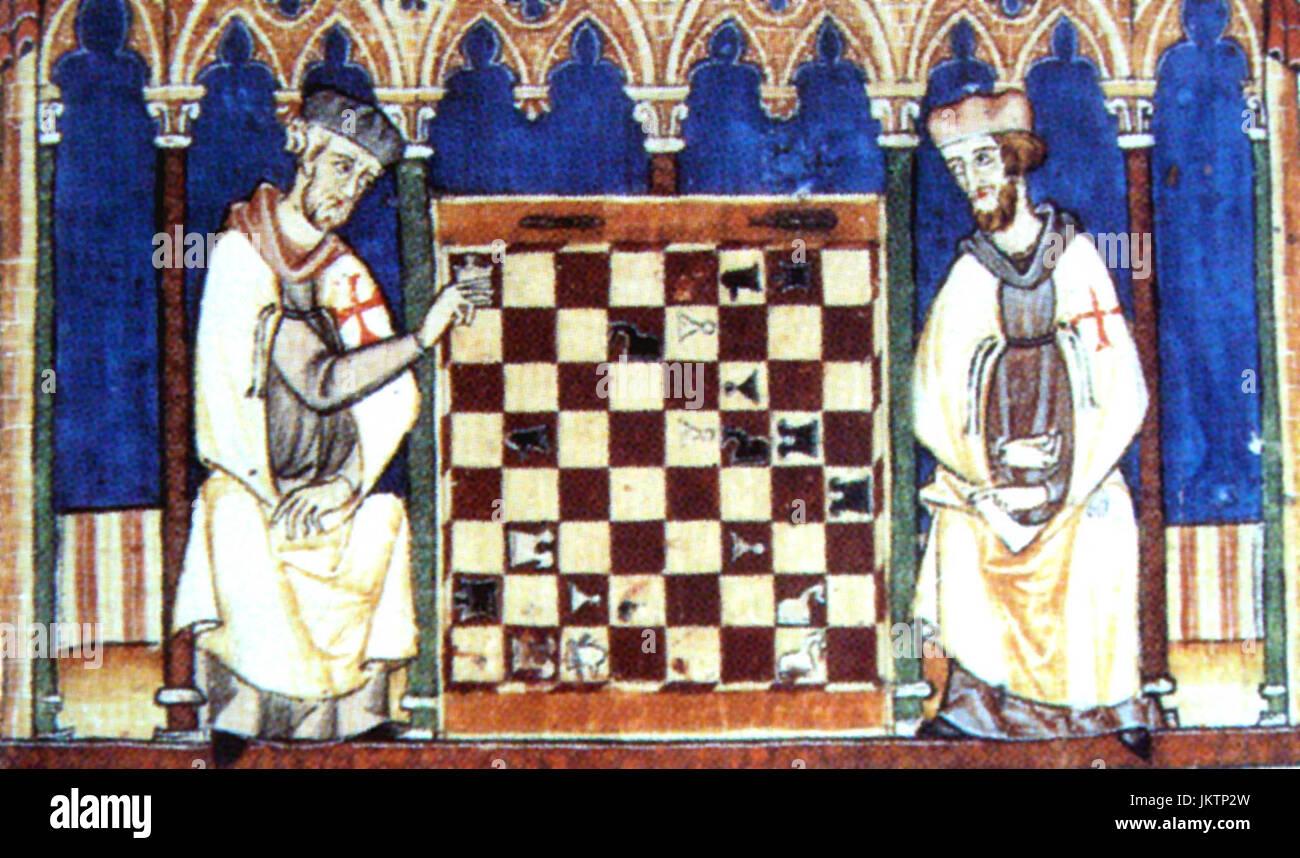 Cavalieri Templari giocando a scacchi, Libro de los juegos, 1283 Immagini Stock
