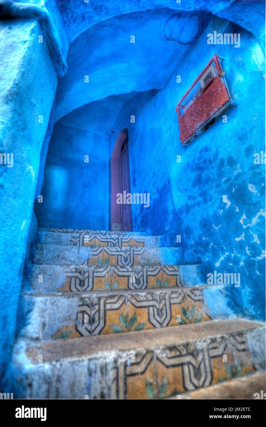 La città blu, Marocco Immagini Stock
