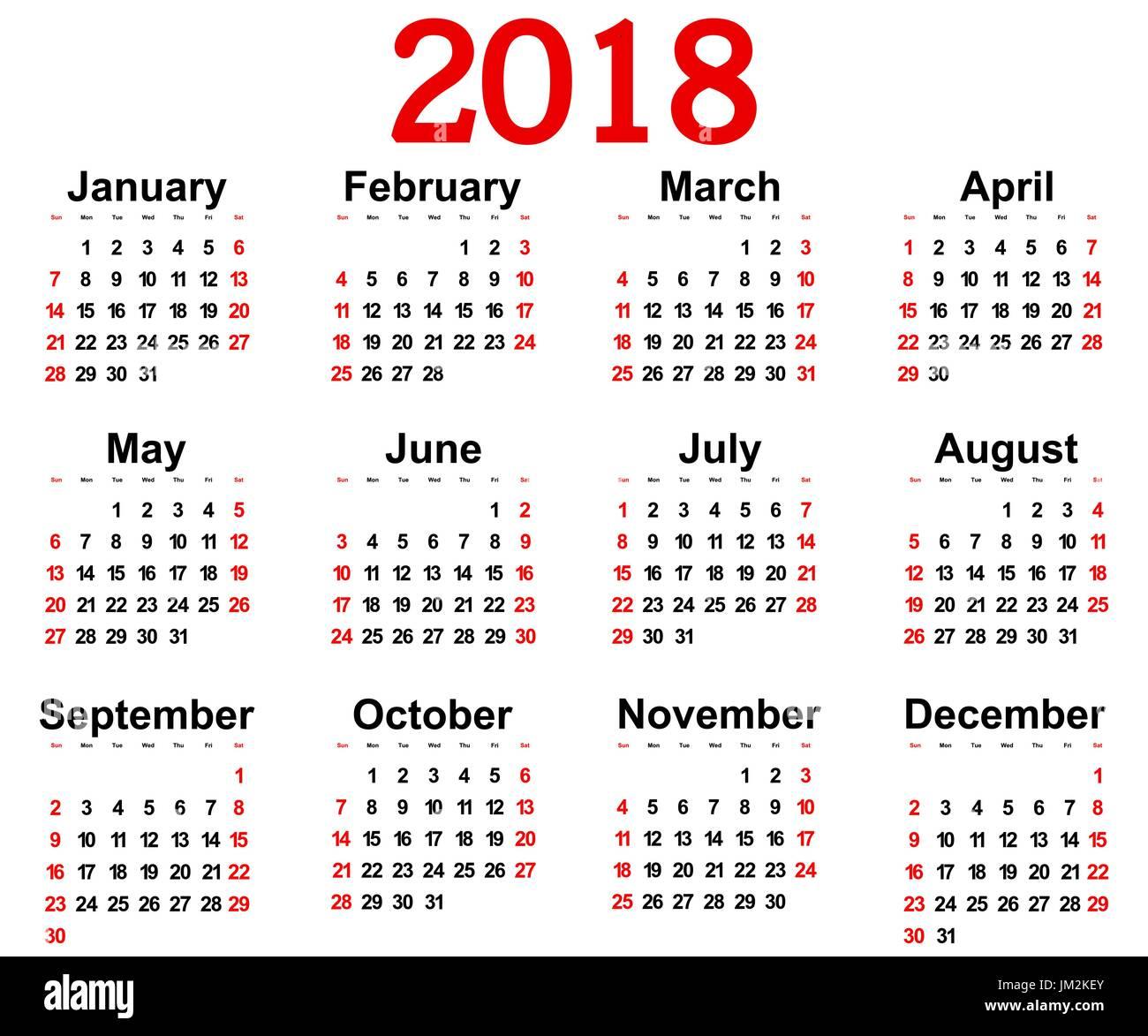 Calendario Da Parete Grande.Grande Il Nuovo Calendario Da Parete 2018 Illustrazione