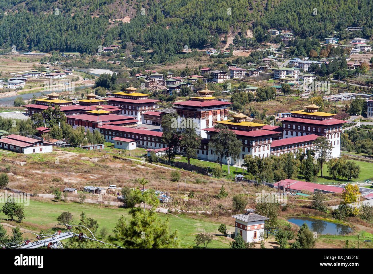 Palazzo del re di Thimphu - Bhoutan Immagini Stock