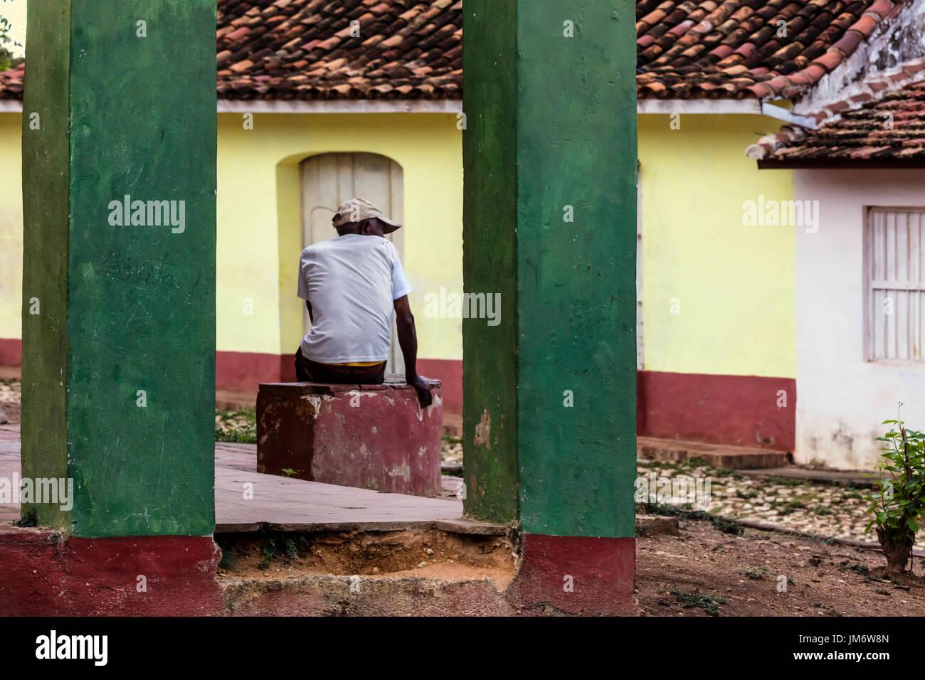 Le strade di ciottoli e le sue case colorate di Trinidad, Cuba Immagini Stock