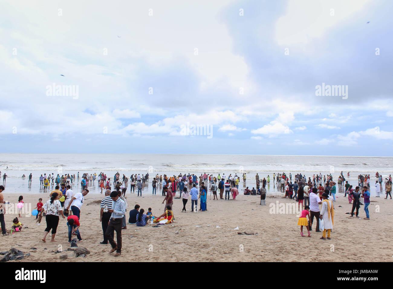 Spiaggia di Juhu di Mumbai Immagini Stock
