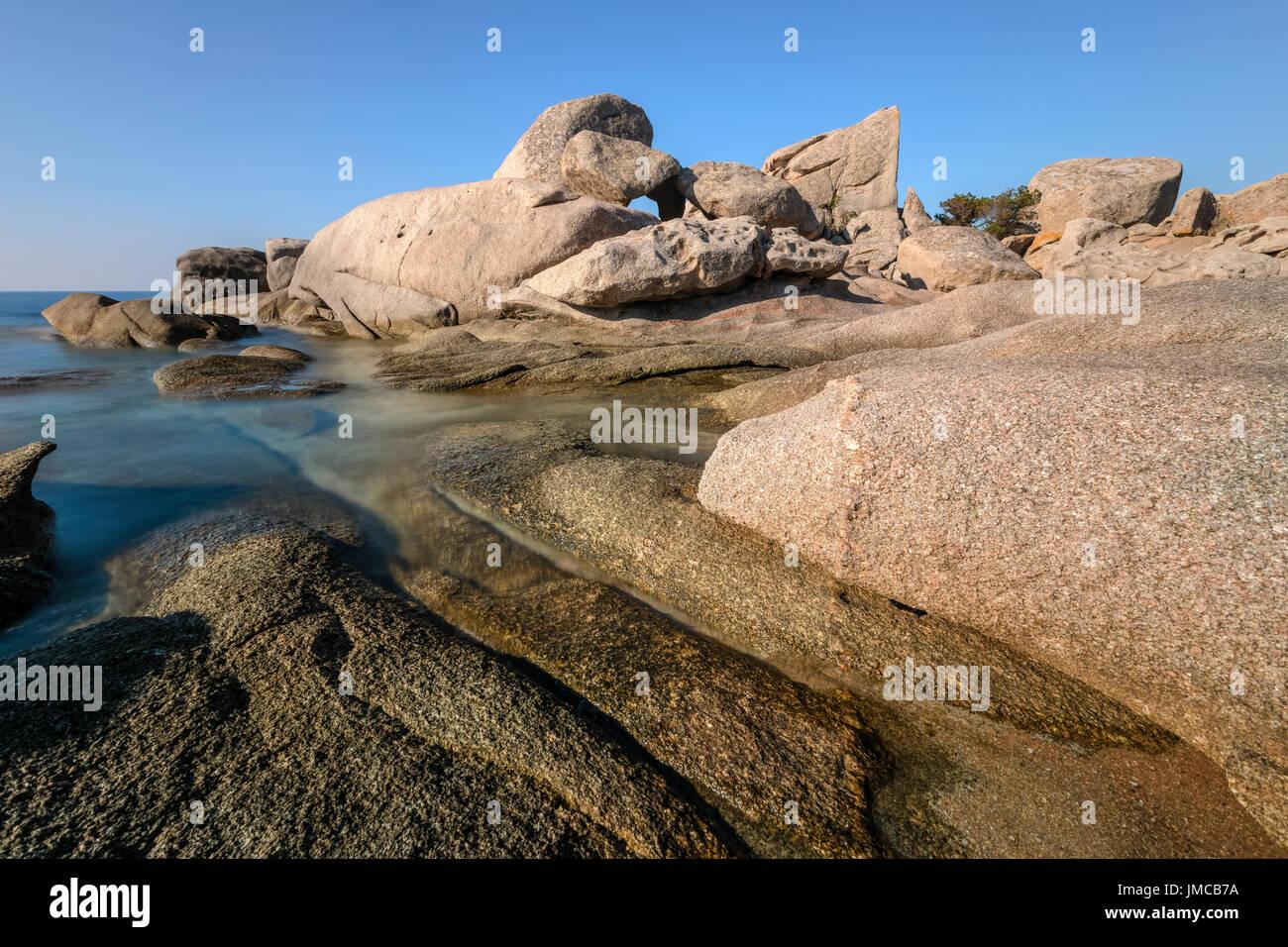 La spiaggia di Palombaggia, Porto-Vecchio, Corsica, Francia Immagini Stock