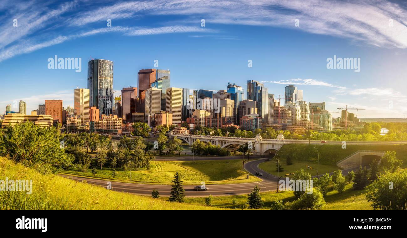 Skyline della città di Calgary, Alberta, Canada. Immagini Stock