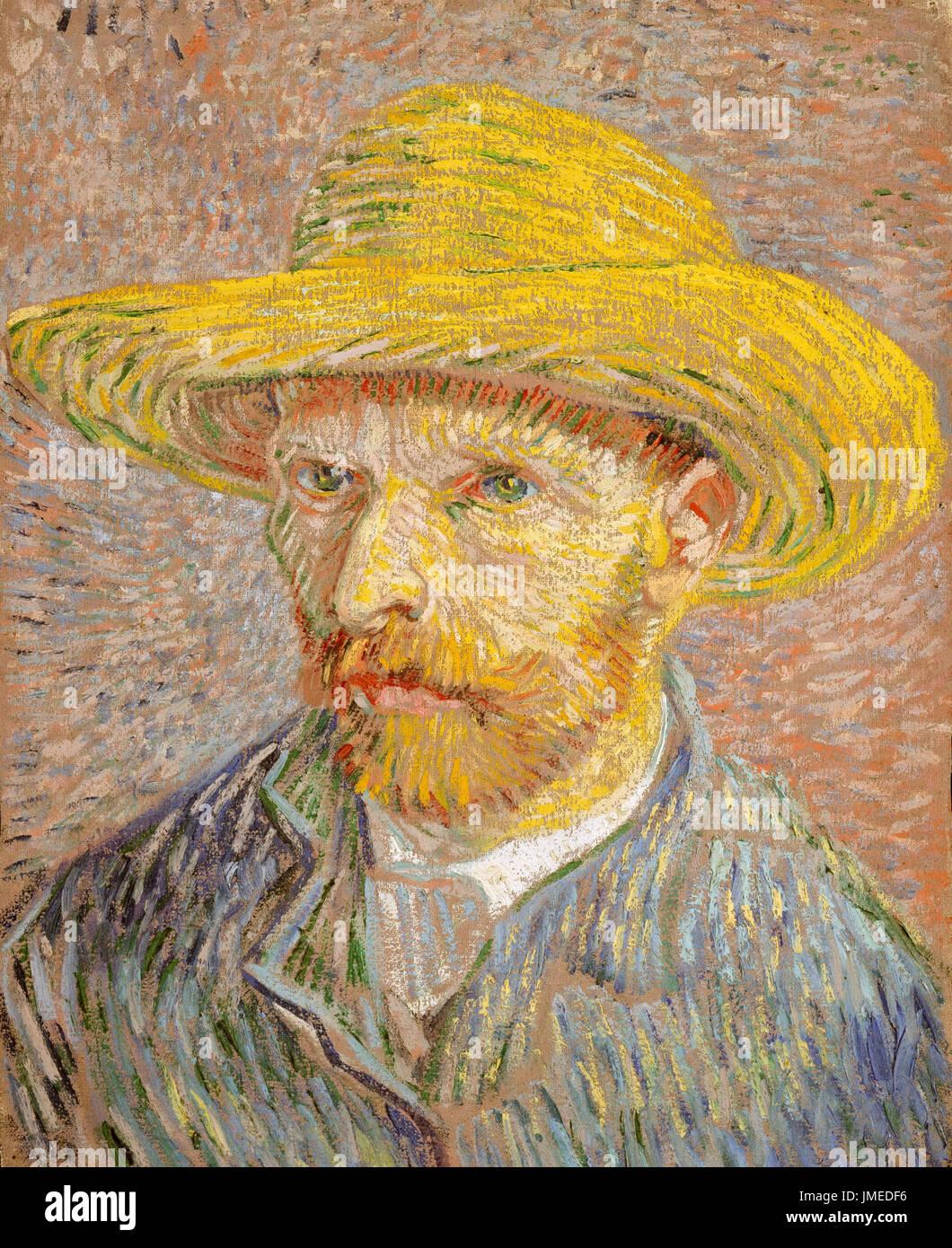 """Vincent van Gogh, 'self-ritratto con un cappello di paglia"""" il dipinto a olio su tela da 1887. Van Gogh """"Il pelapatate' è il complementare di questo ritratto. Immagini Stock"""