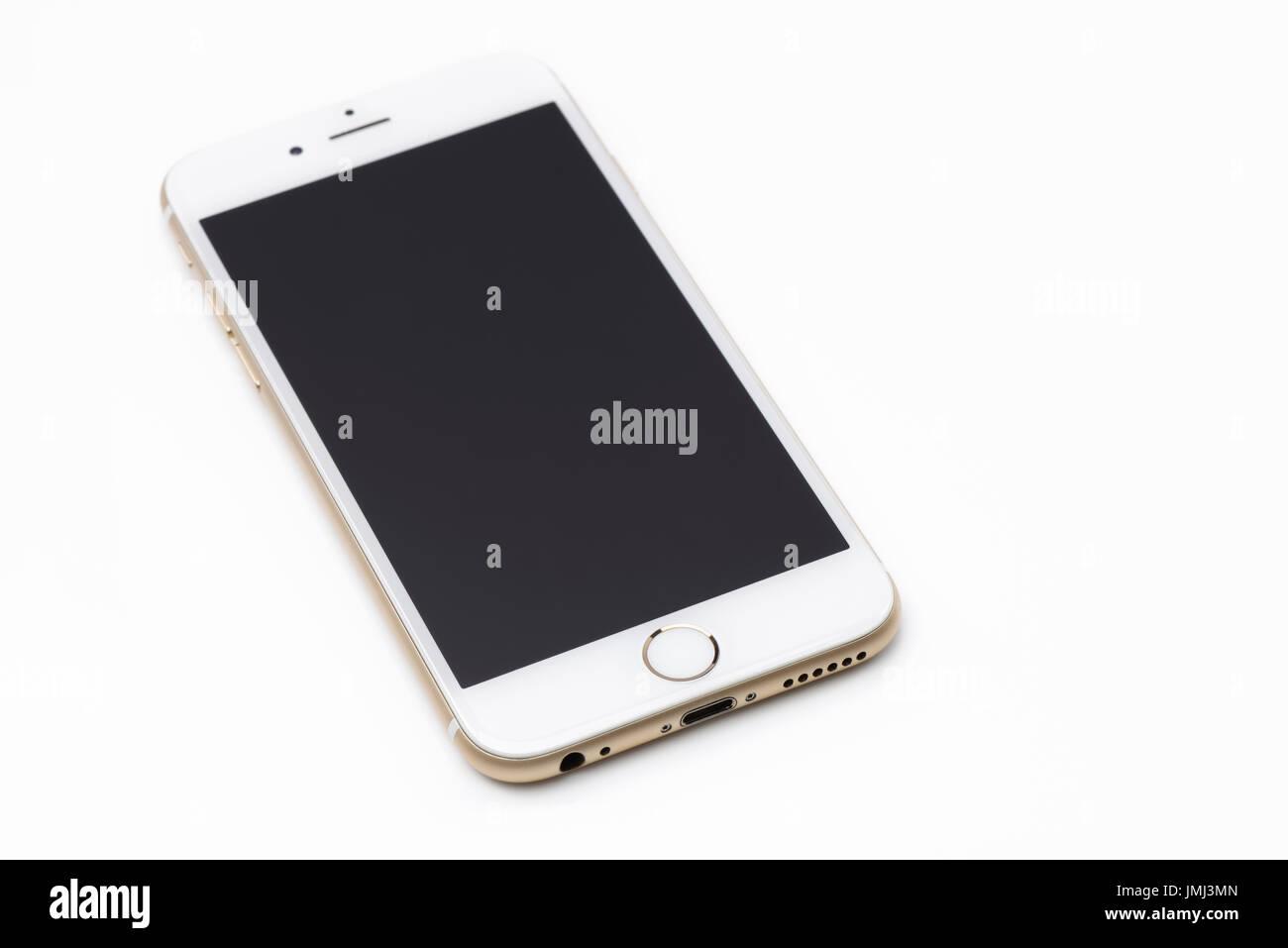 Oro Bianco Apple Iphone 6 6s Con Vuoto Display Nero Giacente Isolati