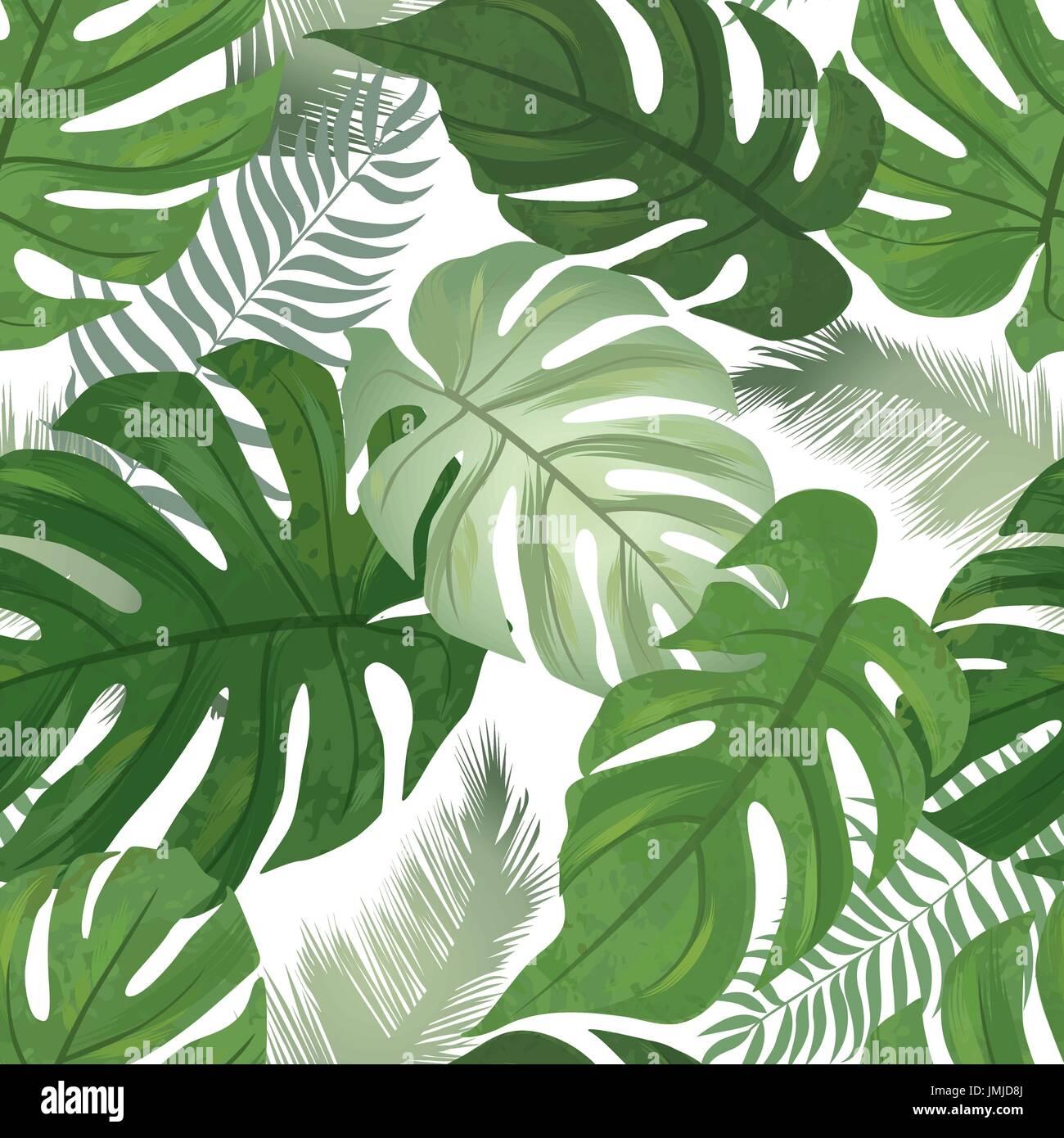 Floral seamless pattern. tropicale, lascia sfondo. Palm tree leaf texture della natura Immagini Stock