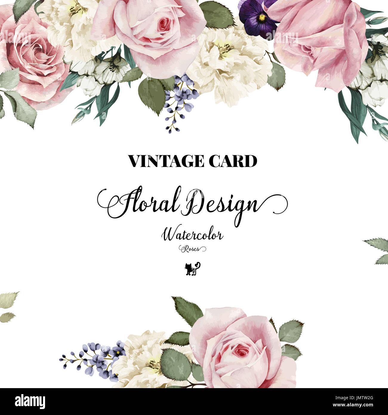 Auguri Matrimonio Vintage : Biglietto di auguri con rose acquerello può essere