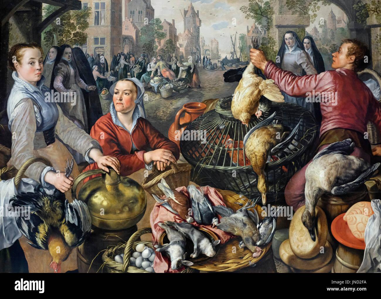 I quattro elementi: Aria, 1569 un mercato di pollame - Joachim Beuckelaer Immagini Stock