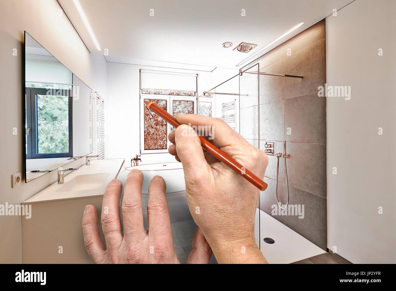 Disegno di rinnovamento di un lusso moderno bagno vasca in corian