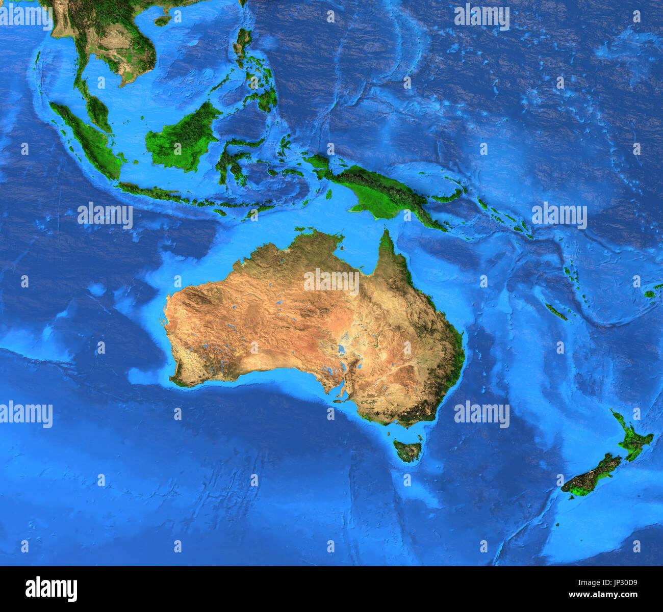 Oceania mappa - Australasia, Polinesia, Melanesia, Micronesia regione. Dettagliata vista satellitare della terra e dei suoi landforms. Gli elementi di questa immagine fur Immagini Stock