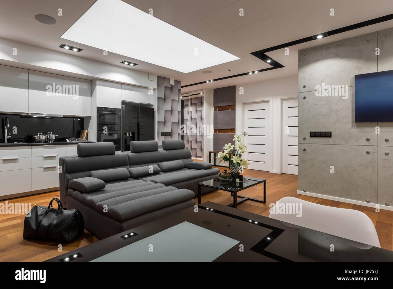 Divano Nero E Bianco : Moderno appartamento con vetro nero tavolo divano e bianco