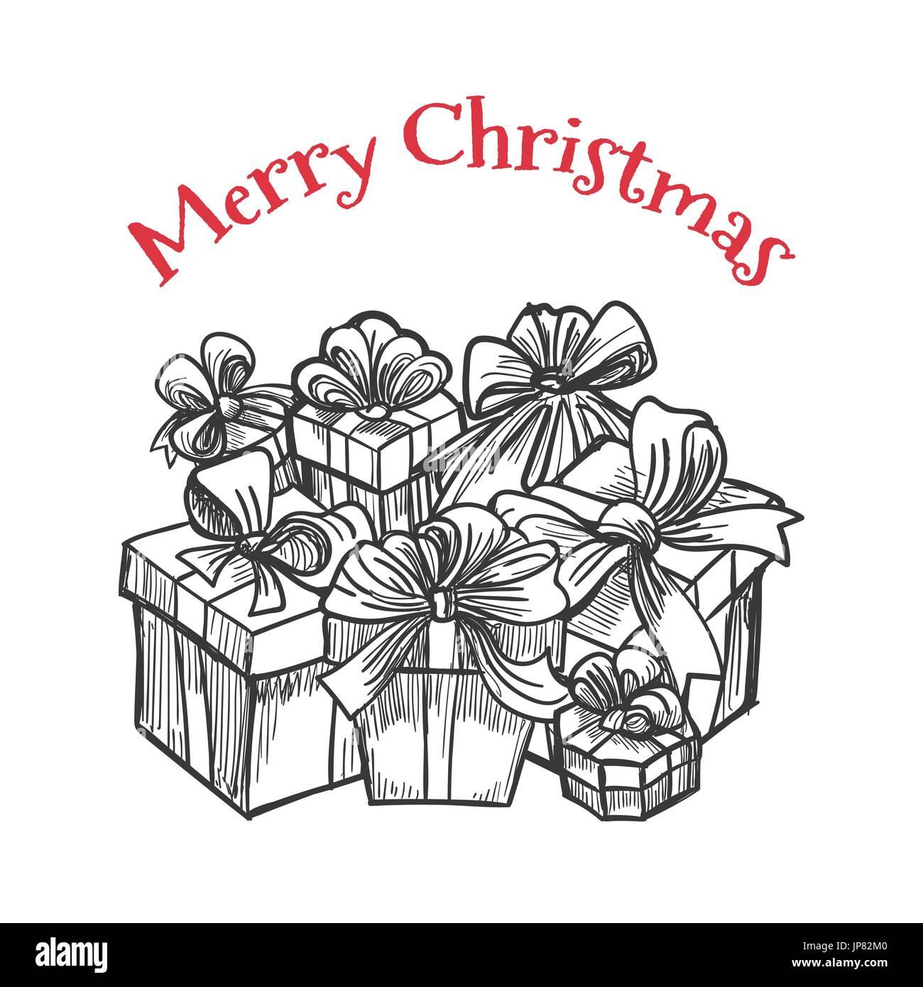 Immagini Natale In Bianco E Nero.In Bianco E Nero Dei Regali Di Scatole Vector Monochrome Buon Natale Template Design Immagine E Vettoriale Alamy